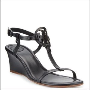 Tory Burch Miller Wedge Sandal Black Size 7.5